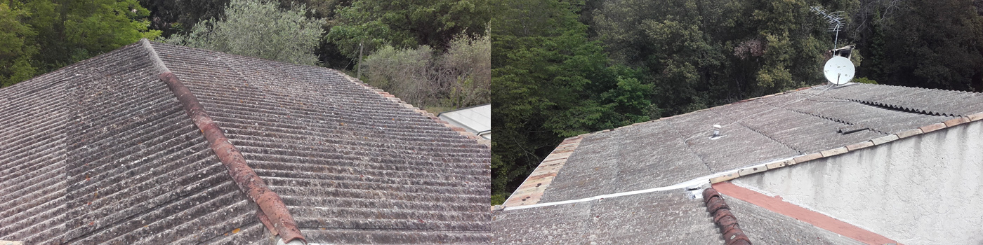 Maison achetée dans l'état avec une toiture en PST non habillée.