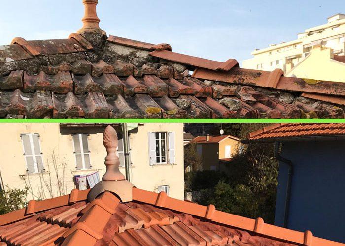 Nettoyage et réparation d'une ancienne toiture à Fréjus