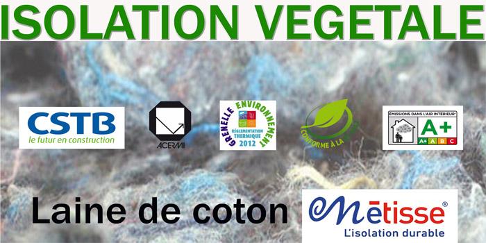 """Isolation Métisse en laine de coton 100 % recyclée par """"le Relais"""""""