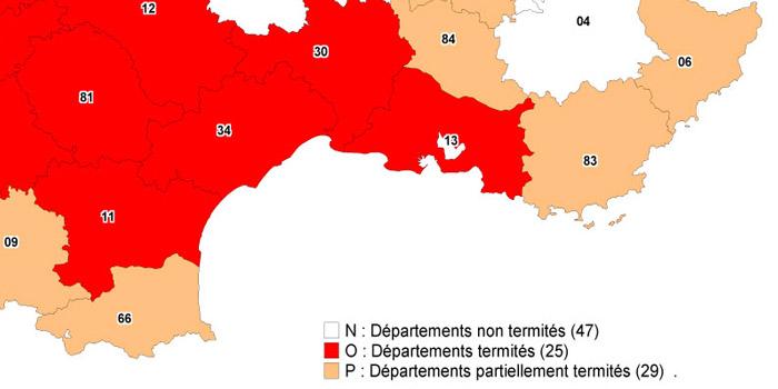 carte du sud-est de la France avec les départements infestés