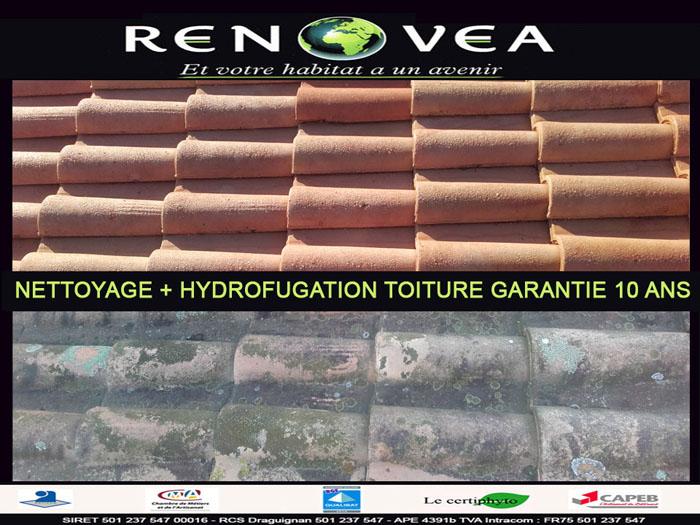 Nettoyage de toiture avec hydrofugation