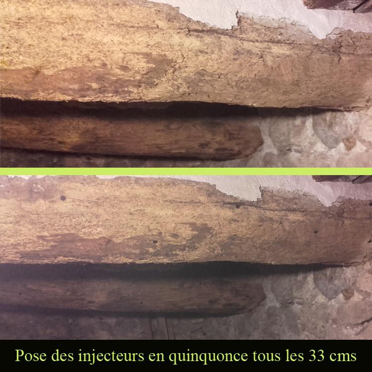Traitement des bois par injection sous pression